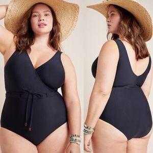 NWT Anthropologie Allihop V Neck 1 Piece Swimsuit